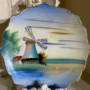 Vintage Japan hand painted plate windmill scallop